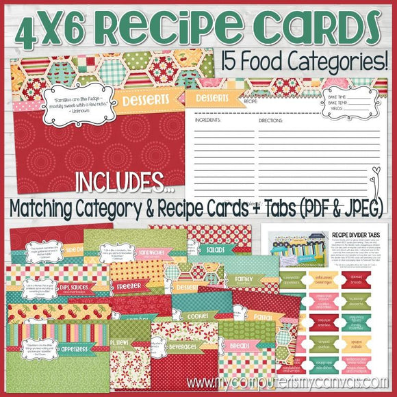 Recipe Cards & Dividers RED {4x6} PRINTABLE-My Computer is My Canvas