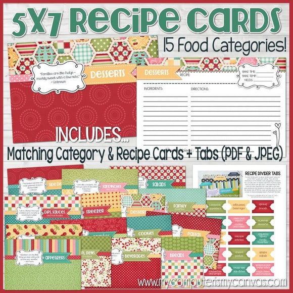 Recipe Cards & Dividers RED {5x7} PRINTABLE-My Computer is My Canvas