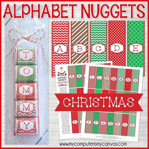 ALPHABET Nugget Wrappers {Christmas Edition} PRINTABLE-My Computer is My Canvas