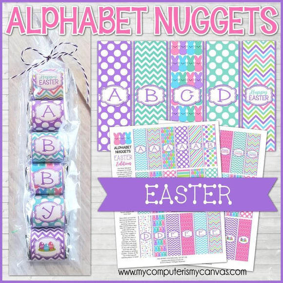 Special Checkout Offer: ALPHABET Nugget Wrappers {Easter} PRINTABLE-My Computer is My Canvas