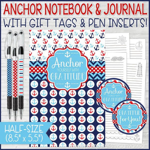 "SPECIAL CHECKOUT OFFER: ""ANCHOR Yourself With Gratitude"" Journal {HALF SIZE} PRINTABLE"