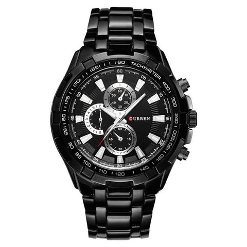 Black Steel Watch, Black Bezel