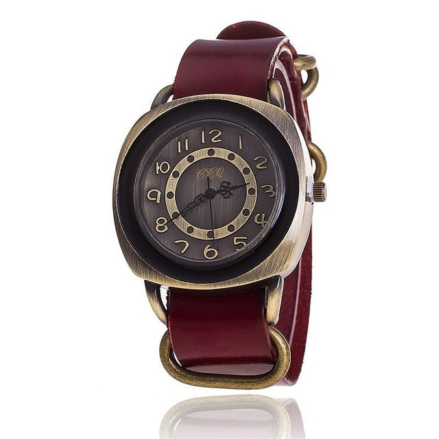 Garvin Leather Watch, Red