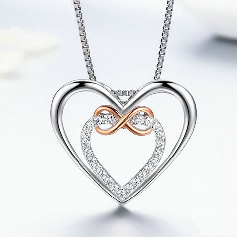 Infinity Double Heart, Sterling Silver