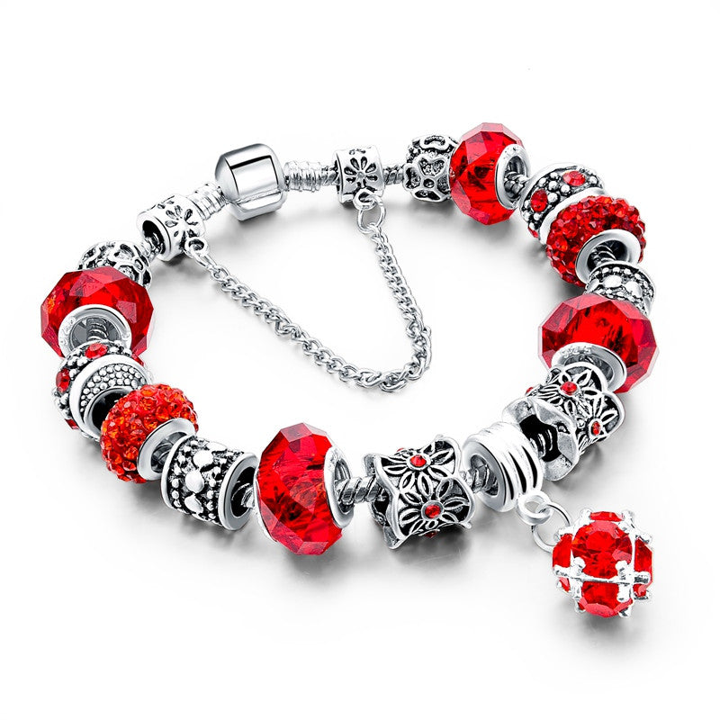 Tibetan Silver Crystal Bracelet, Red, Flower Charms