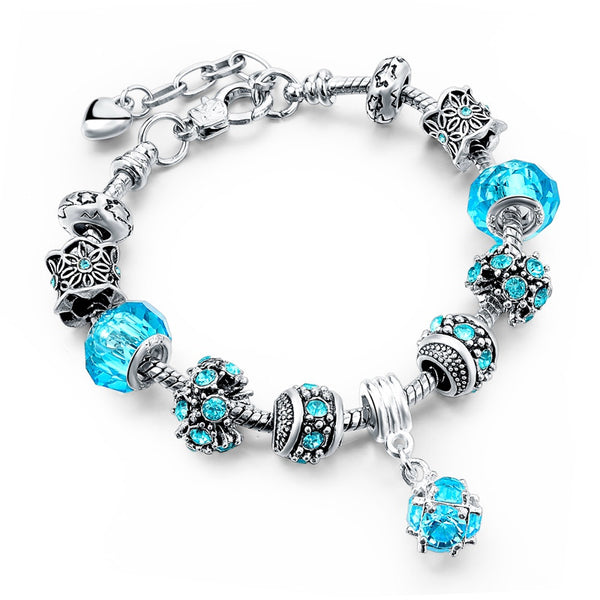 Tibetan Crystal Charm Bracelet, Aqua, Heart Safety Chain