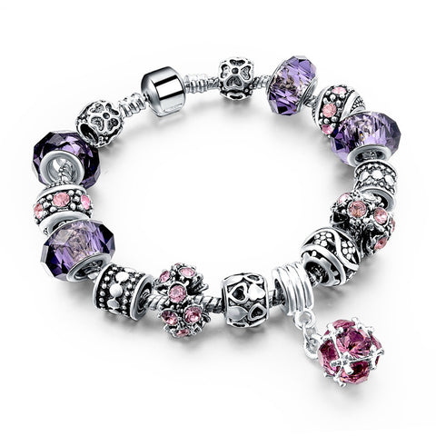 Tibetan Silver Crystal Bracelet, Purple, Flower and Heart Charms