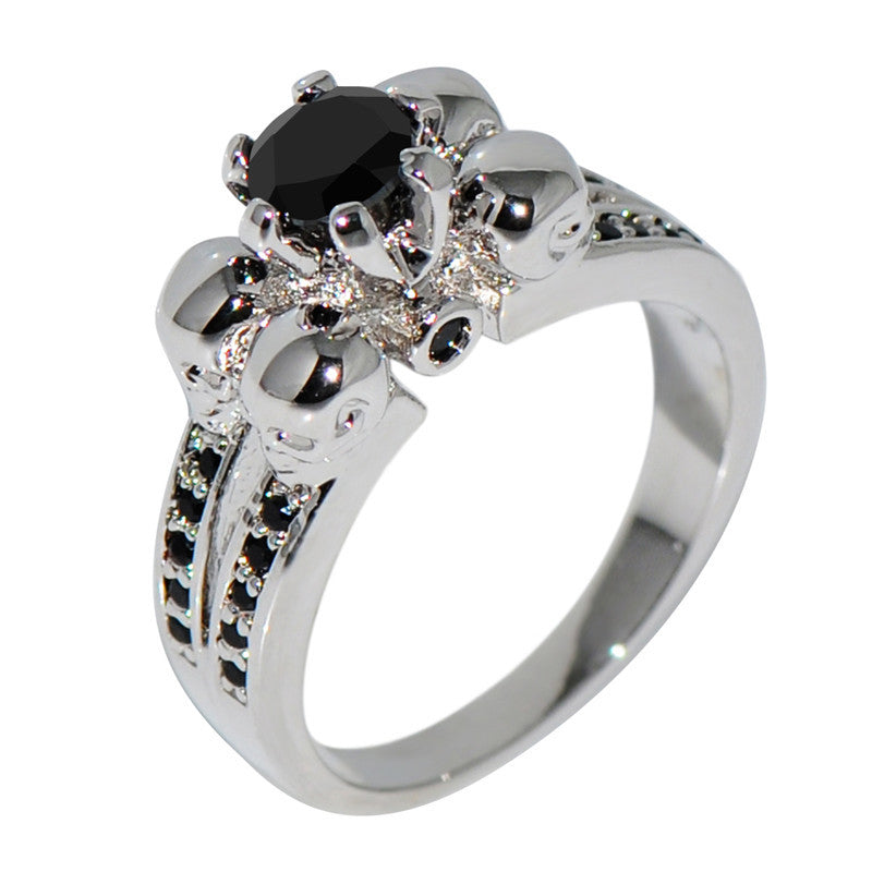 Black Stone White Gold Skull Ring