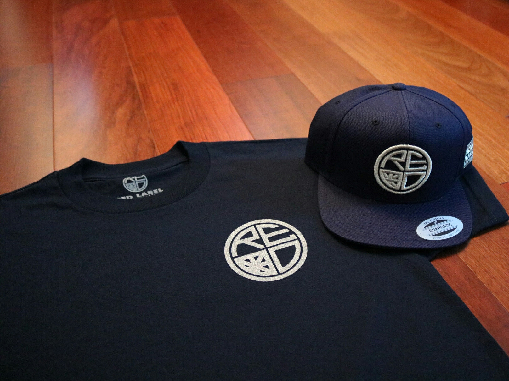Classic Logo Tee - Navy & Silver - Red Label Clothing Inc