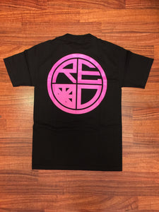 Classic Logo Tee - Black & Pink - Red Label Clothing Inc