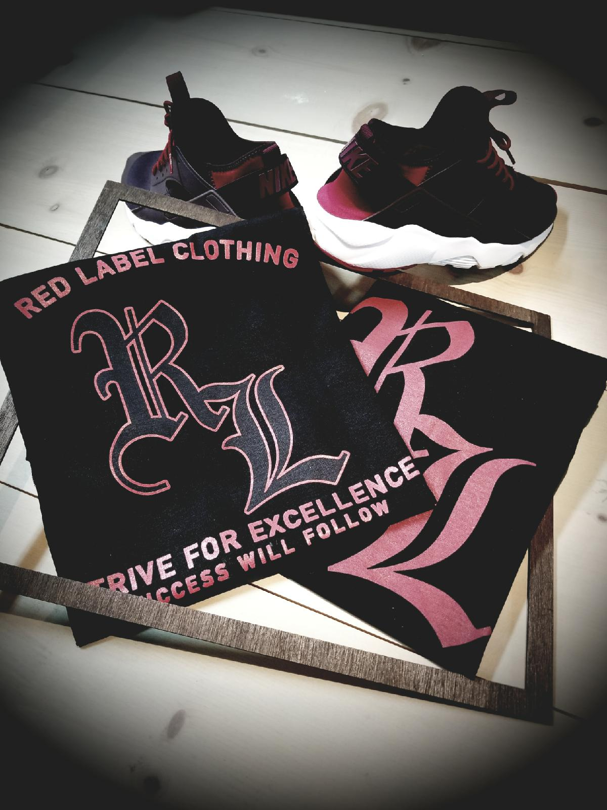 """Strive For Excellence"" RL Logo Men's Tee Black/Red - Red Label Clothing Inc"