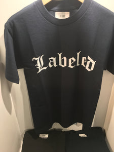 LABELED MENS TEE - NAVY & WHITE - Red Label Clothing Inc