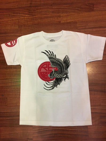 Tattoo Owl Youth T-Shirt WHITE/BLACK/RED