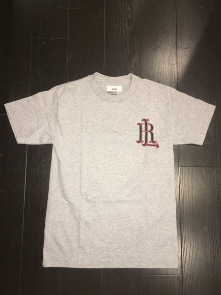 RL LOGO MENS TEE- GREY & BLACK/RED
