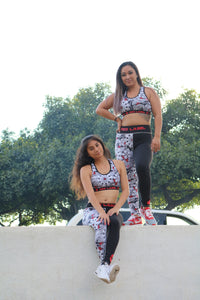 Geo Floral Sports Bra and Legging Set