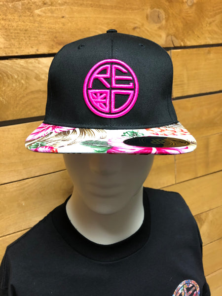 Black with Floral Bill Snapback