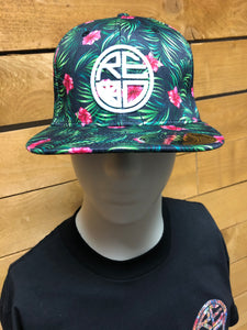 Black Palm Hibiscus Floral Snapback