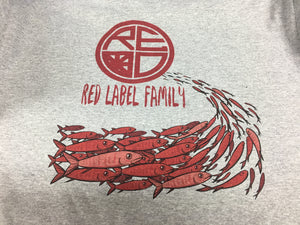 """Red Label Family"" Fish Men's T-Shirt - HEATHER/RED"