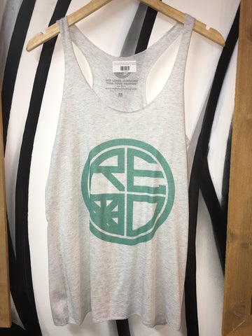 Classic Logo Women's Tank - Grey And Teal - Red Label Clothing Inc
