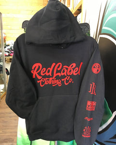 Red Label Clothing Co. Vinyl Hoodie - Black/Red