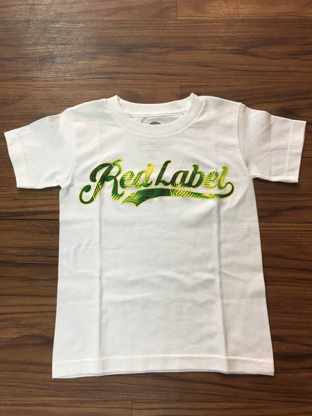 Palm Tree Script Logo Youth T-Shirt WHITE/GREEN
