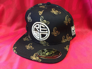 Black/Gold Scorpion Snapback - White Logo