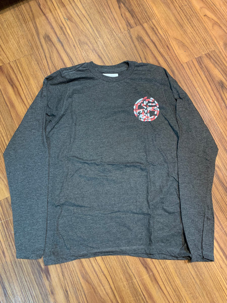 "Classic Logo ""Snow Camo"" Long Sleeve CHARCOAL/RED"