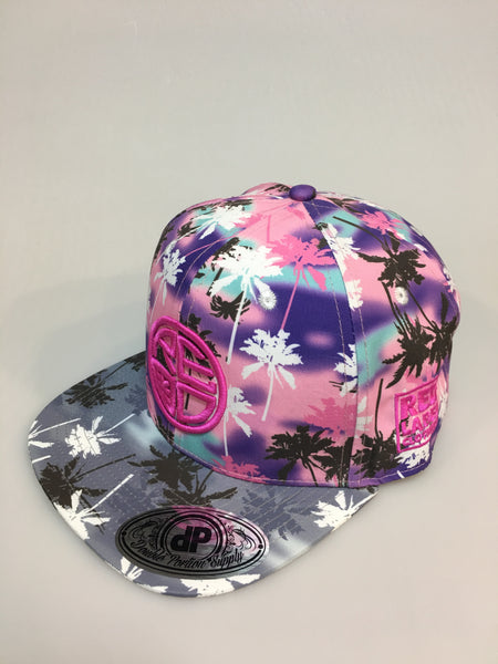 Pink & Purple Palm Tree Snapback