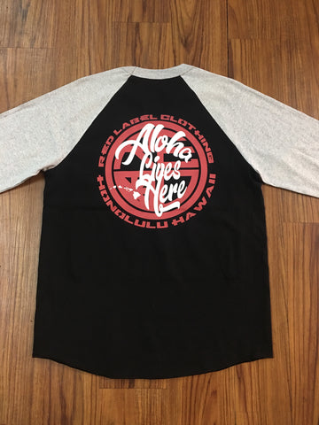 """Aloha Lives Here"" Men's Raglan - Black/White"