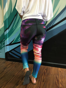High Fashion Yoga Pants - Ocean Sunset - Red Label Clothing Inc