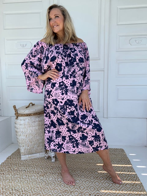 Beach Dress Hibiscus Print