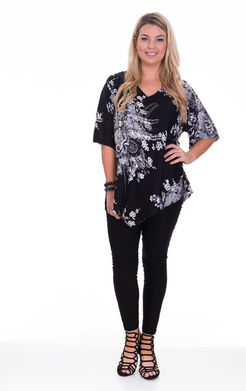 V Hem Top Flower Print