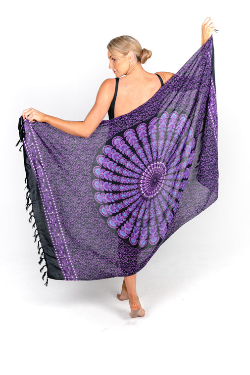Sarongs - Black Mandala