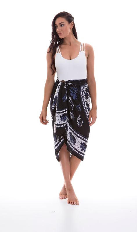 Sarongs - Black Elephant Print