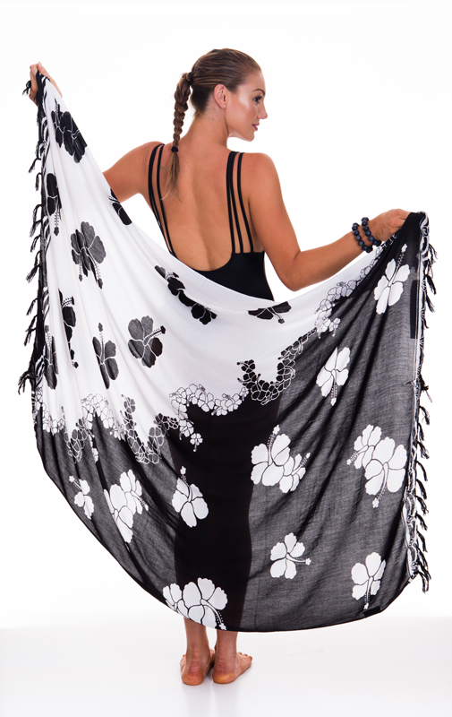 Sarongs - Black Hibiscus