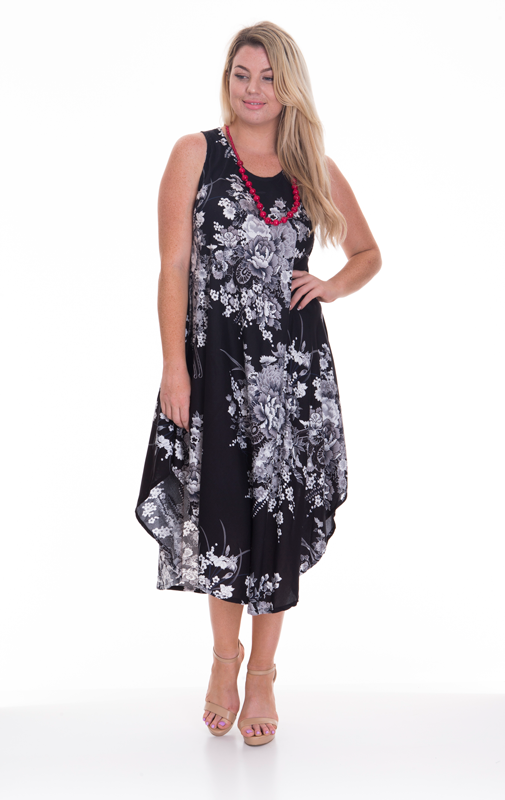 Sleeveless Dress 'Flower Print'