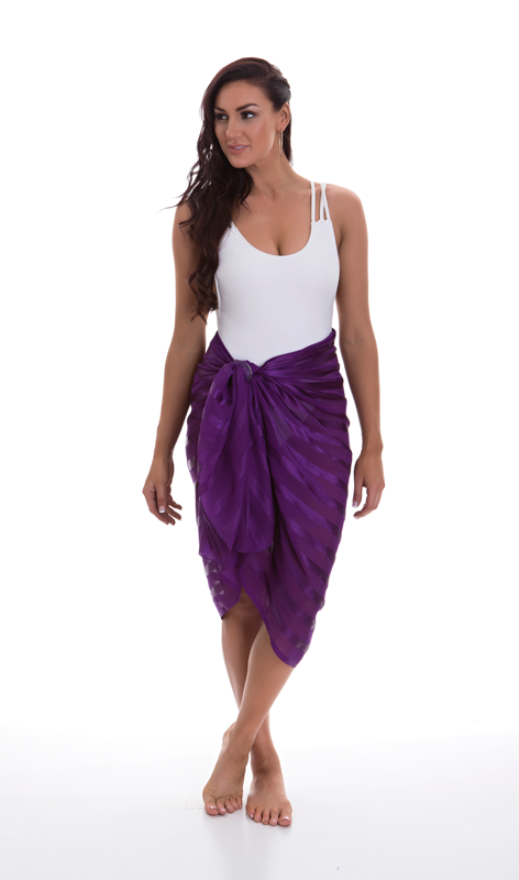Luxury Satin Stripe Sarong - Purple
