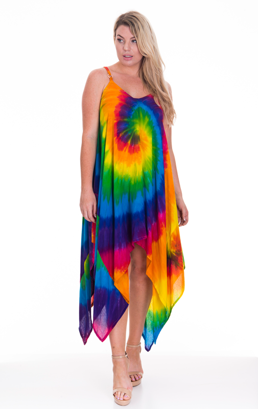 Multi Tie Dye V Hem Dress