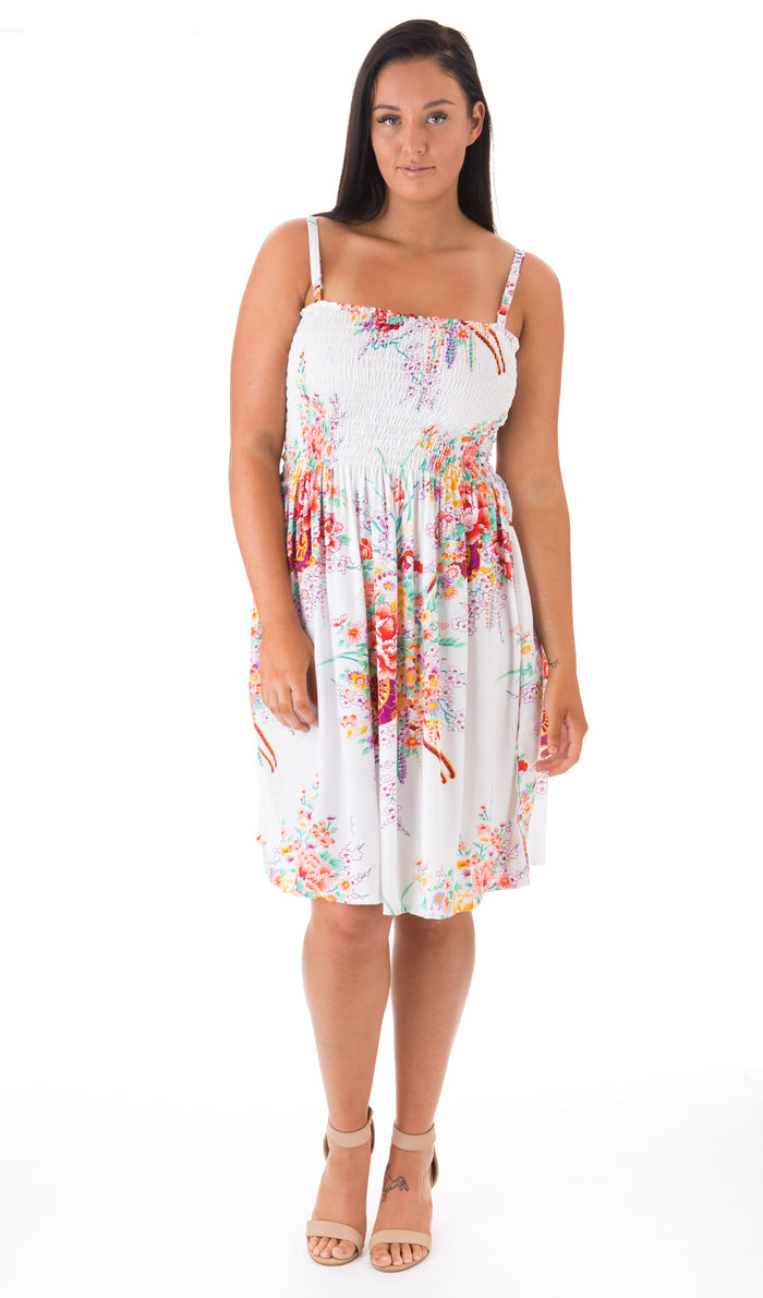Shirred Dress 'Flower Print'