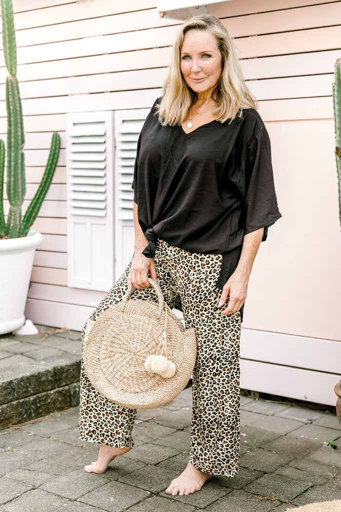 Animal Print Shirred Pants