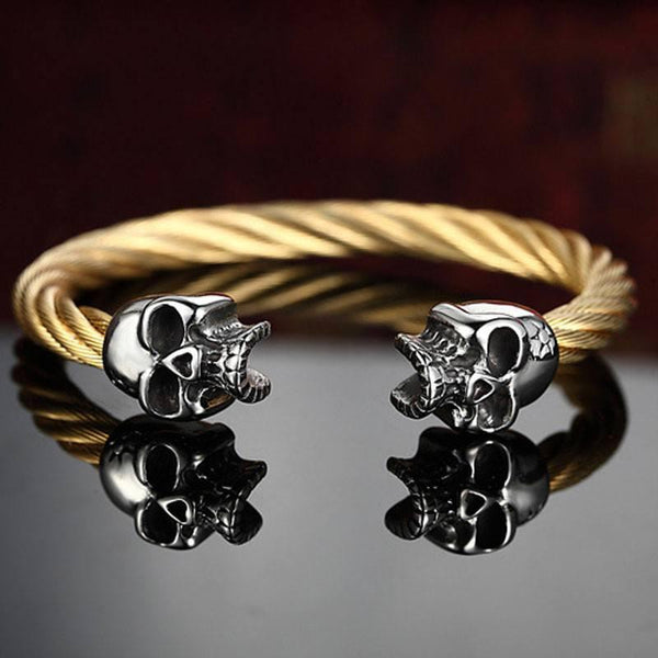 Twin Skulls Bracelet-Gold - Posh Men Club