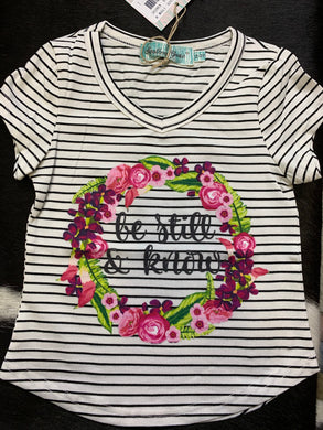 Girls' Be Still & Know Striped Tee