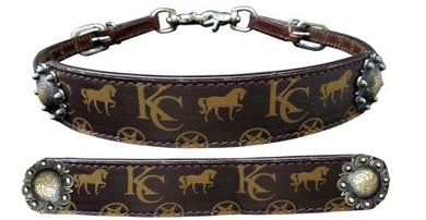 Klassy Cowgirl Argentina Cow Leather Wither Strap with motif overlay.