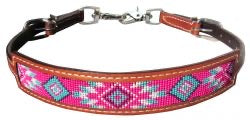 Showman ® Medium leather wither strap with pink navajo design inlay.
