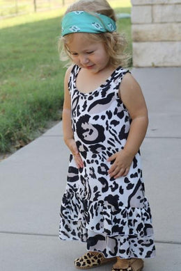 Black Cheetah Toddler Ruffle Dress