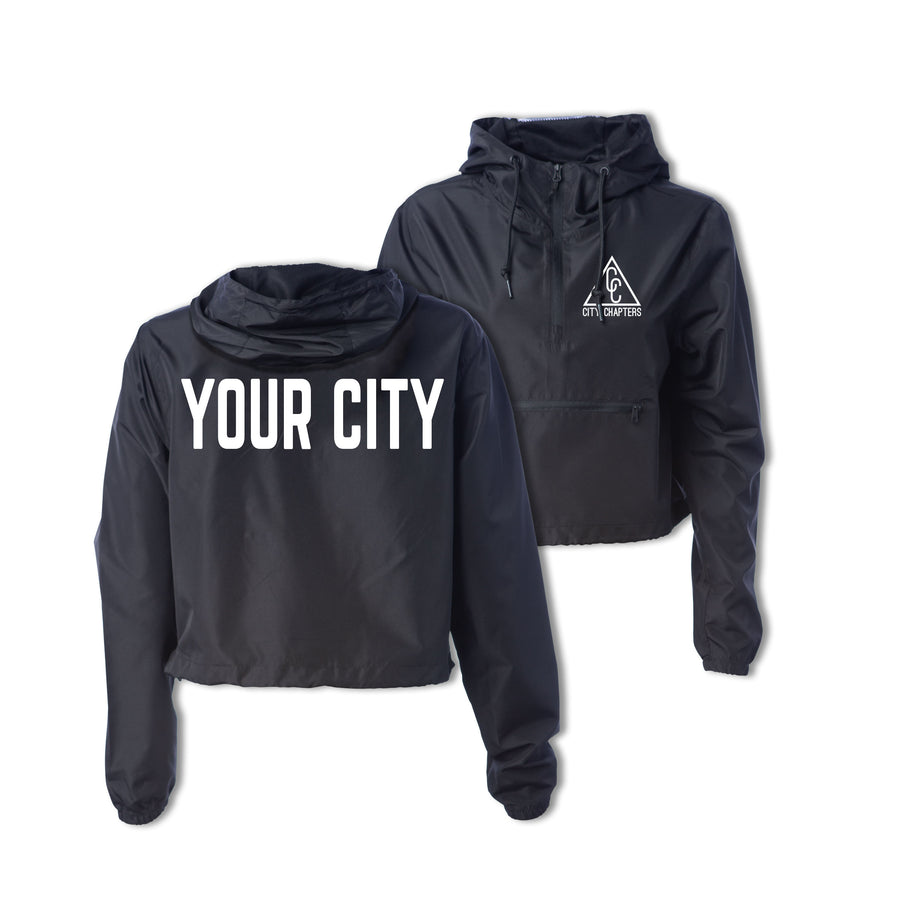 LADIES CROPPED CITY ANORAK - BLACK