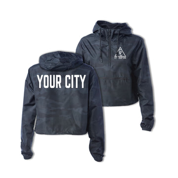 LADIES CROPPED CITY ANORAK - BLACK CAMO