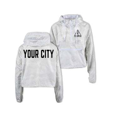 LADIES CROPPED CITY ANORAK - WHITE CAMO