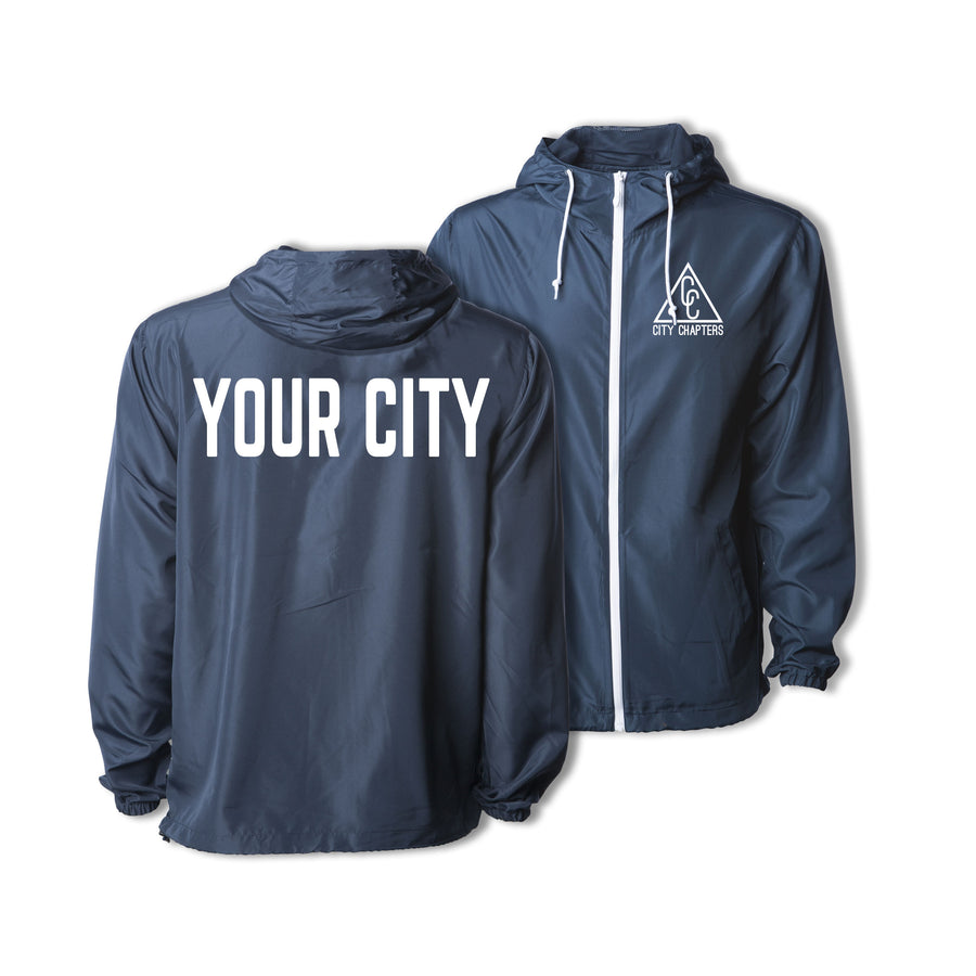 ULTRALIGHT CITY JACKET - NAVY/WHITE ZIP