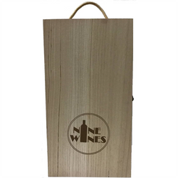 Wooden box double wine carrier